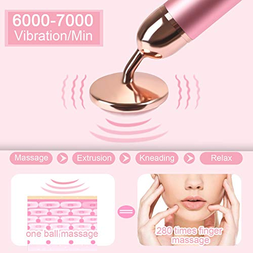 Upgrade 2 in 1 Vibrating Jade Facial Massager Roller, Electric Rose Quartz Eye Face Roller for Anti-aging Reducing Wrinkles Slimming and Firming Skin