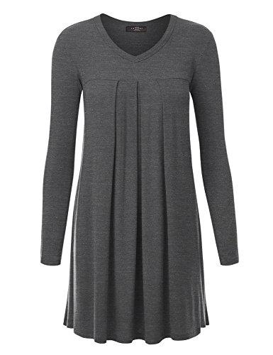 Pleat Skirt Dress (MBJ WT1166 Womens V-Neck Long Sleeve Pleats Tunic Dress Top L HEATHER_CHARCOAL)