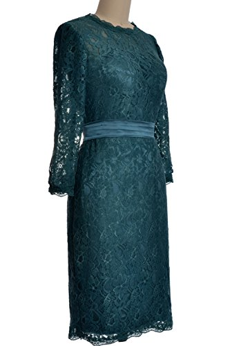 MACloth Women 3/4 Sleeve Lace Short Cocktail Dress Wedding Party Evening Gown Morado