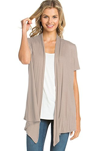 12 Ami Basic Solid Short Sleeve Open Front Cardigan Taupe 2X ()