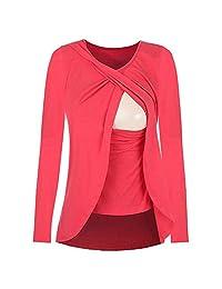 HGWXX7 Women Maternity Nursing Wrap Top Long Sleeve Double Layer Cotton Blouse