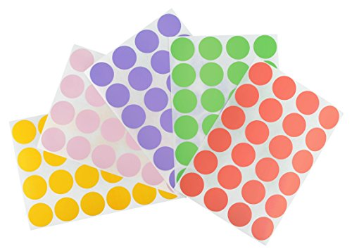 Pastel Dots - ChromaLabel 3/4 inch Color-Code Dot Labels on Sheets | 5 Assorted Colors | 1,200/Variety Pack (Pastel)
