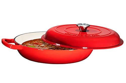 Enameled Cast Iron Casserole Braiser - Pan with Cover, 3.8-Quart, Gradient Red by Bruntmor (Image #9)