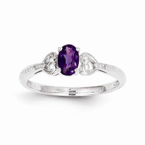 10k White Gold Purple Simulated Amethyst Diamond Engagement Wedding Ring (.01 cttw.) (2mm)