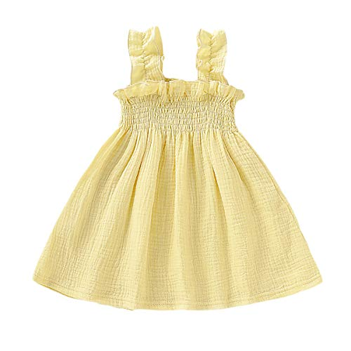 YOUNGER TREE Toddler Baby Girls Summer Cotton Lace Sleeve Princess Overall Dress Backless Sundress (Yellow, 12-18 Months)