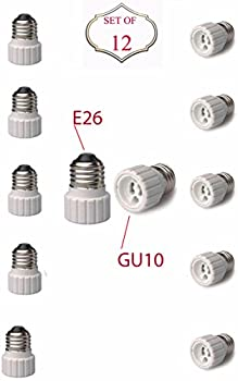 SleekLighting E26 to GU10 Adapters - Converts your Standard Screw-in Bulb (E26) to Pin Base Fixture (GU10) Maximum Watts and Voltage Capacity-Set of 12