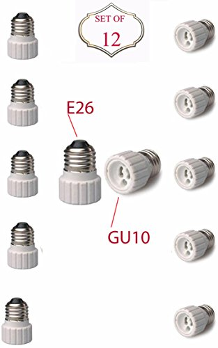 (SleekLighting E26 to GU10 Adapters - Converts your Standard Screw-in Bulb (E26) to Pin Base Fixture (GU10) Maximum Watts and Voltage Capacity-Set of 12)