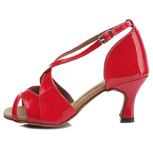 Hroyl Dames Latin Dansschoenen Mid Hielen Satijn Salsa Tango Ballroom Ty-b62 7cm Fel Rood
