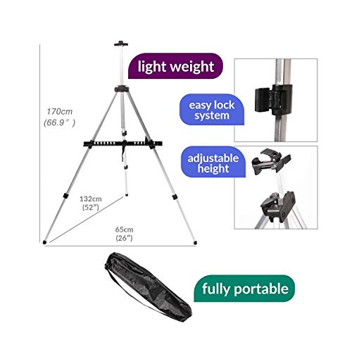 (Heavy Duty Artist Field Studio Painting Easel Tripod Display Telescopic White Board Stand with Carry Bag -619)