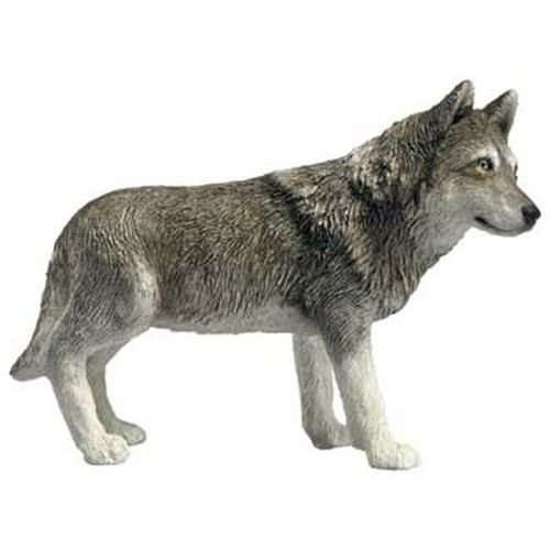 Sandicast Mid Size Gray Wolf Sculpture, Standing