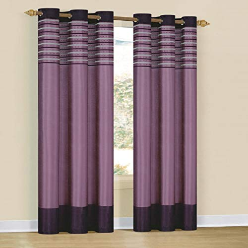 Duck River Textiles - Cityscape Embroidered Grommet Top Window Curtains for Living Room & Bedroom - Assorted Colors - Set of 2 Panels (38 X 84 Inch - Purple Dehlia)