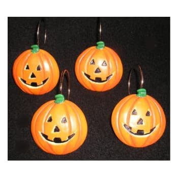 halloween shower curtain hooks jack 0 lantern holiday pumpkins