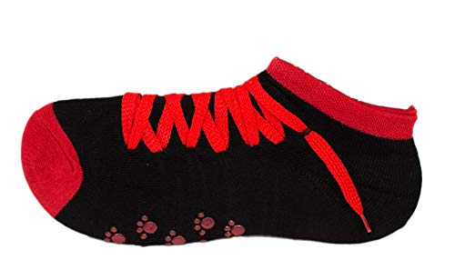 (Womens Sneaker Slipper Sock Shoes w/Anti-Skid Gripper Dots, Fun Novelty Socks (Red))