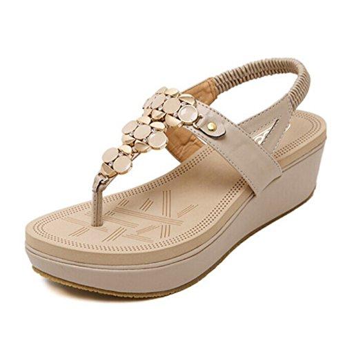 Boho Beige T Scarpe Toe Strass Clip strap Infradito Elastico Heel Zicac Da Romani Donna Sandali Spiaggia Wedge F8fwqaa5x