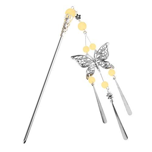 Jili Online Handmade Vintage Butterfly Design Chinese Girl Classic Beads Tassel Hairpin Headdress Hair Stick - Light Yellow
