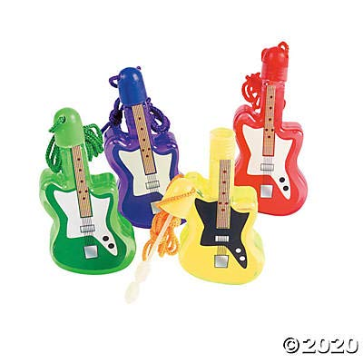 Guitar Bubble Bottle Necklaces (set of 12) Music Party Favors: Toys & Games