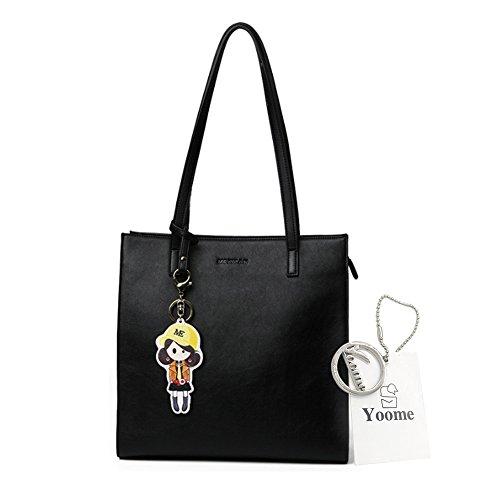 Yoome Cartoon Ciondolo grande capacità Tote per le donne borse casual per ragazze Tote Purses Leather - Nero