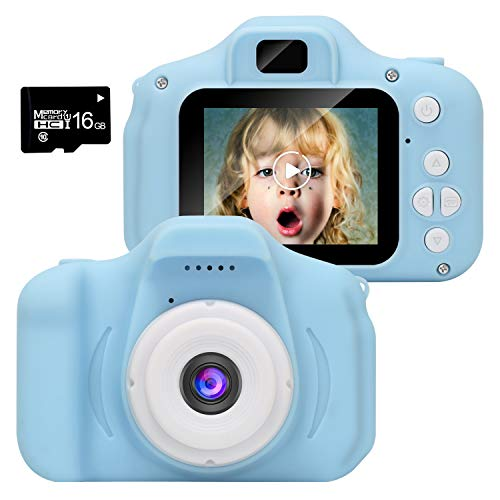 WABOLIN Kids Digital Video Camera for Boys Age 3-8 , Mini Blue Rechargeable Children Camera Shockproof 8MP HD Toddler Cameras Child Camcorder (16GB Memory Card Included)