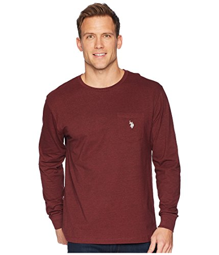U.S. Polo Assn. Men's Long Sleeve Crew Neck Pocket T-Shirt, Burgundy Heather, L Polo Neck T-shirts