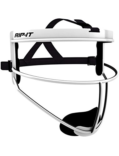 RIP-IT Defense Pro – The Ultimate Softball Fielder's Mask – Lightweight Protection with Uninhibited Visibility, Performance, and Blackout Technology – White – Adult (Mask Softball Fielders)