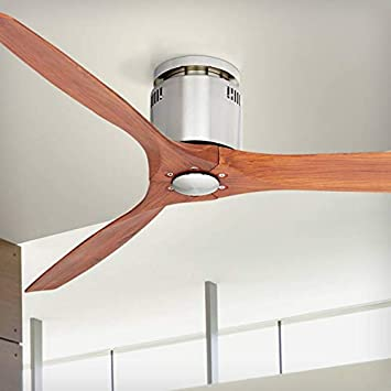 52 Windspun Walnut – Nickel DC Hugger Ceiling Fan – Casa Vieja
