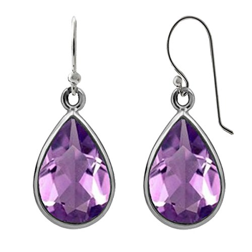 Diane Lo'ren Sterling Silver 3.0 CTW Pear-Shaped Drop Dangle Earrings for Women (amethyst)