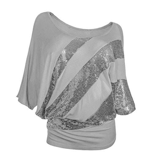Quartly 1Pc Women Short Sleeve Cold Shoulder Sequin Tee Tops Shirts Summer T-Shirt Pullover Casual Blouse (XXL, Gray)