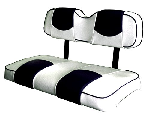 Custom Vinyl Golf Cart Seat Covers Front and Rear-White With Black Top and Piping - For Club Car Precedent Golf Cart - Kool Cushions CCPREC--WHBKTPFR-01