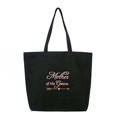 ElegantPark Mother of the Groom Wedding Tote Bridal Shower Gift Shoulder Bag Black with Pink Embroidered 100% ()