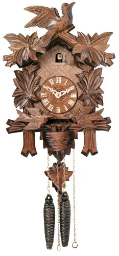 River City Clocks One Day Cuckoo Clock with Carved Maple Leaves and Moving Birds, Hand-Painted Flowers, 13-Inch Tall