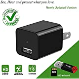 Charger Camera USB Wall Charger Camera Mini USB Security Camera Motion Detection Phone Charger Camera Nanny Camera with Removable 32GB Memory Card Black
