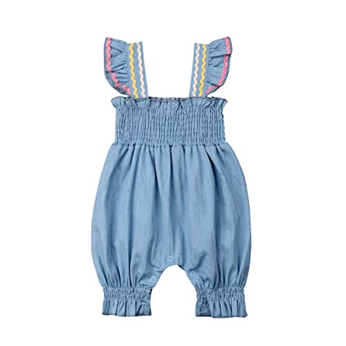 Baby Girls Romper Halter Sleeve Bodysuit Flexible Jumpsuit Summer Clothes Outfits Sunsuit 0-18M (0-3 Months, Style 2)