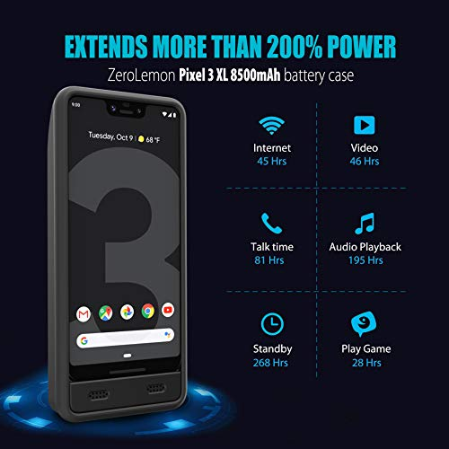 Google Pixel 3 XL Battery Charging Case, ZeroLemon Ultra Power 8500mAh Extended Rechargeable Battery with Soft TPU Case for Google Pixel 3 XL - Black by ZEROLEMON (Image #1)