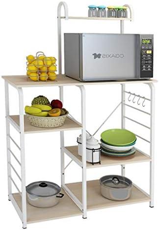 SogesGame Kitchen Cart 3-Tier Kitchen Baker's Rack Utility Microwave Oven Stand Storage Rolling Workstation
