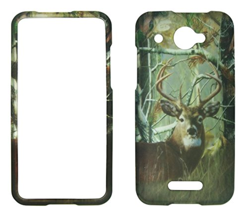 (2D Camo Buck Deer Pine HTC DROID DNA 4G LTE X920E Verizon Case Cover Snap-on Hard Shell Protector Cover Phone Hard Case Case Cover Rubberized Frosted Matte Surface Hard Shells)