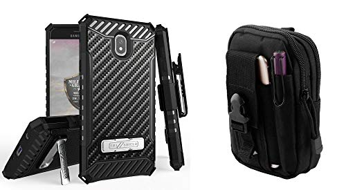 Bemz Accessory Bundle for Samsung Galaxy J7 (2018) J737 (J7 V 2nd Gen, Refine, Star, Crown, Aura, Top) - Tri-Shield Series Holster Case (Carbon Fiber) with Tactical Utility Pack and Atom Cloth from Bemz Depot