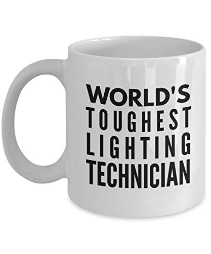 """Rabbit Smile"""" World's Toughest Lighting Technician"""" Novelty Gifts Cool Bday Present For a Mother Father Coworker Boss Retirement Presents Him From Son, Daughter, Wife Husband Idea - 11Oz White Mug"""