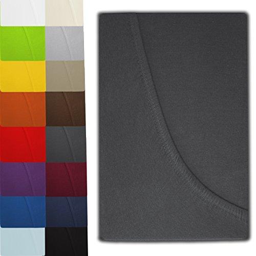 luxoon Jersey Spannbettlaken Spannbetttuch Serie in 16 modernen Farben und 5 verschiedenen Größen (120 x 200 cm, anthrazit)
