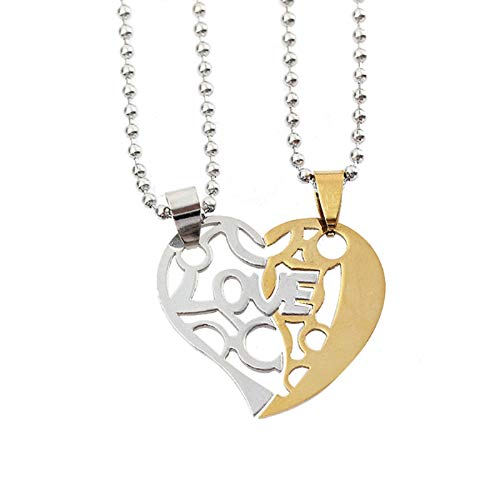 Fate Love His and Her Stainless Steel Mens Womens Couple Necklace Pendant Love Heart CZ Puzzle Matching