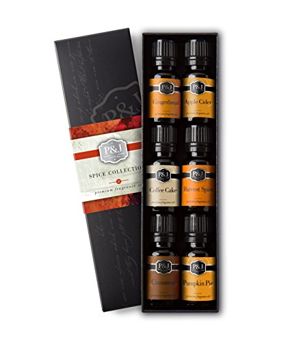 P&J Trading Spice Set of 6 Premium Grade Fragrance Oils - Cinnamon, Harvest Spice, Apple Cider, Coffee Cake, Gingerbread, Pumpkin Pie - 10ml ()