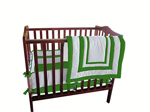 Baby Doll Bedding Modern Hotel Style Mini Crib/ Port-a-Crib Bedding Set, Green Apple by BabyDoll Bedding   B00NGB9YQG
