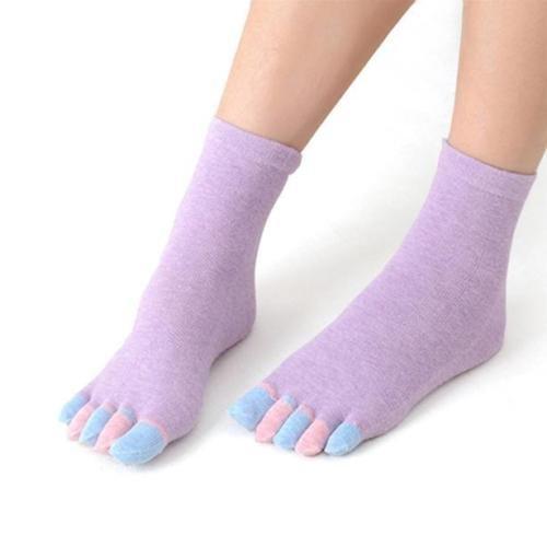 SkinFoot Purple #5 Full Toe Yoga Socks Non-Slip Skid Barre Grip Colorful Sock Women Men (1 Pair)