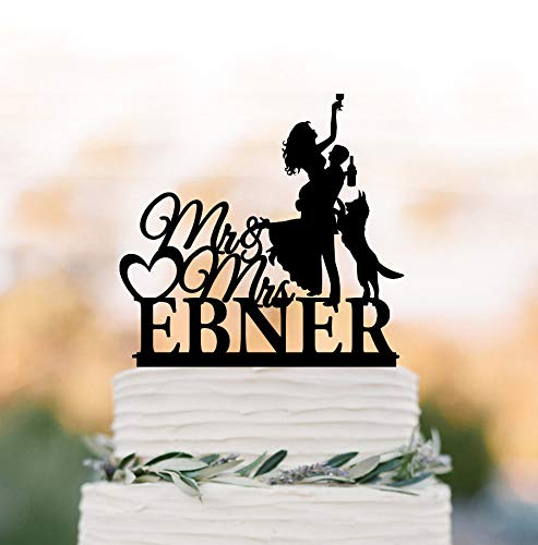 Personalized Wedding Cake Topper with Dog German Shepherd Silhouette with Mr and Mrs Cake Topper Drunk Bride with Wine Glass and Groom (German Shepherd Cake Topper)