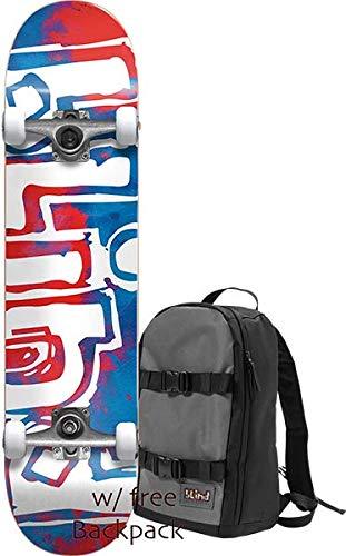 Blind Skateboards OG Watercolor Red/Blue Mini Complete Skateboard Includes Free Backpack! - 7.25