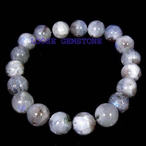 Moonstone Bracelet Genuine Rainbow Moonstone Meditation Bracelet Yoga Bracelet Beaded Gemstone Stretch Bracelet Goddess Stone Feminine Power 6 ()