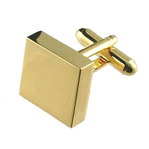 Select Gifts Pair Gold-Tone Square Cufflinks Optional Engraved Personalised Box ()