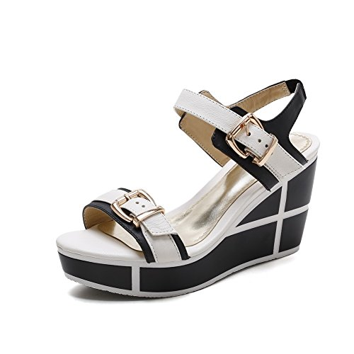 AmoonyFashion Womens High Heels Assorted Color Buckle Open Toe Sandals White