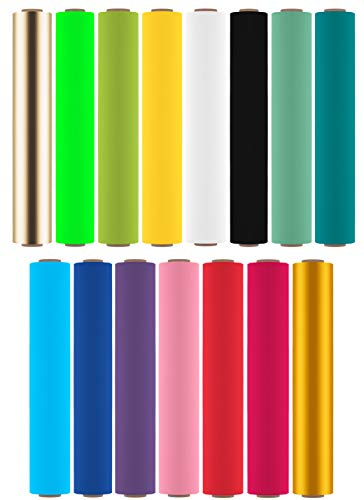 Firefly Craft Heat Transfer Vinyl HTV Bundle Pack for Silhouette and Cricut Iron On, Includes 15 Rolls of Best Selling Iron On Colors - 12' x 20' Each