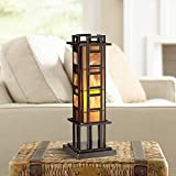 Prairie Mission Accent Table Lamp Bronze Iron Column Amber Stained Glass for Living Room Family Bedroom Office - Robert Louis Tiffany