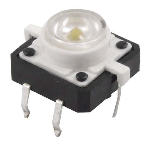 eDealMax a12013000ux0061 momentneo de luz LED tctil interruptor de botn, 12 mm x 12 mm x 7 mm, White